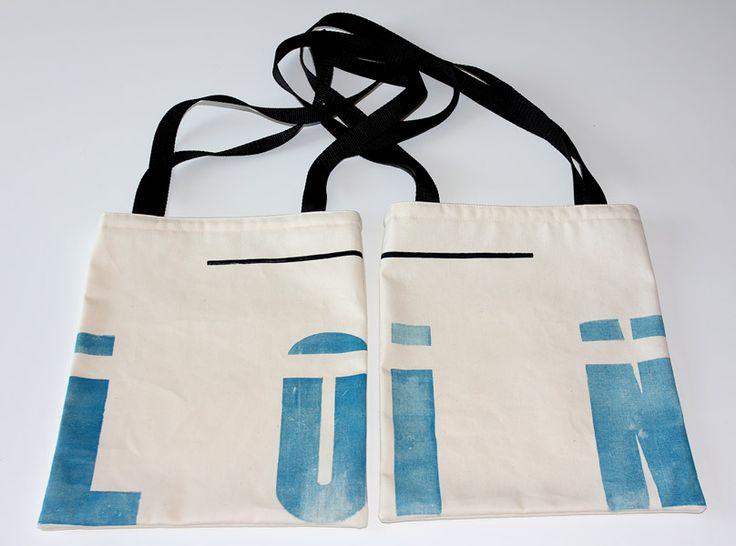 """Tote bag avec impressions typo """"LOIN"""" caractères en bois letter press  http://ampersandpresslab.fr/"""