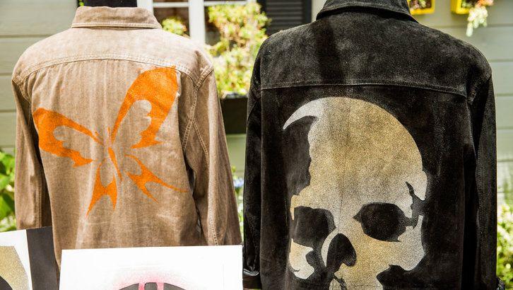DIY Stencil & Spray Glitter Jacket - ***** Written & video instructions. JCN