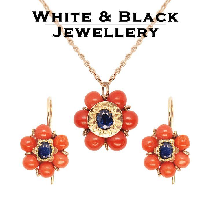 Antik stílusú rosegold medál és fülbevaló valódi zafír és korall drágakövekkel - Antique style rosegold pendant and earrings with sapphire and coral gemstones