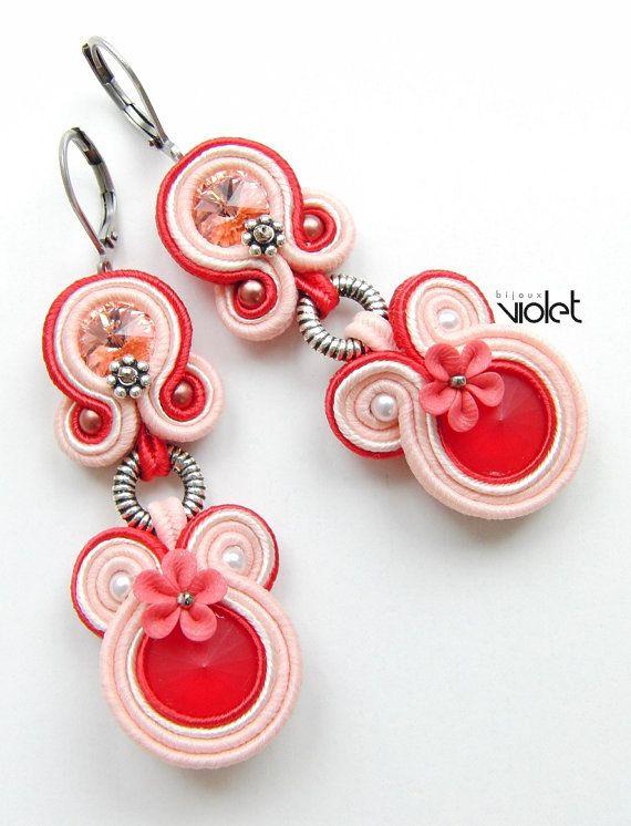 Boucles d'oreilles de soutache - Envy - rouge-Rose