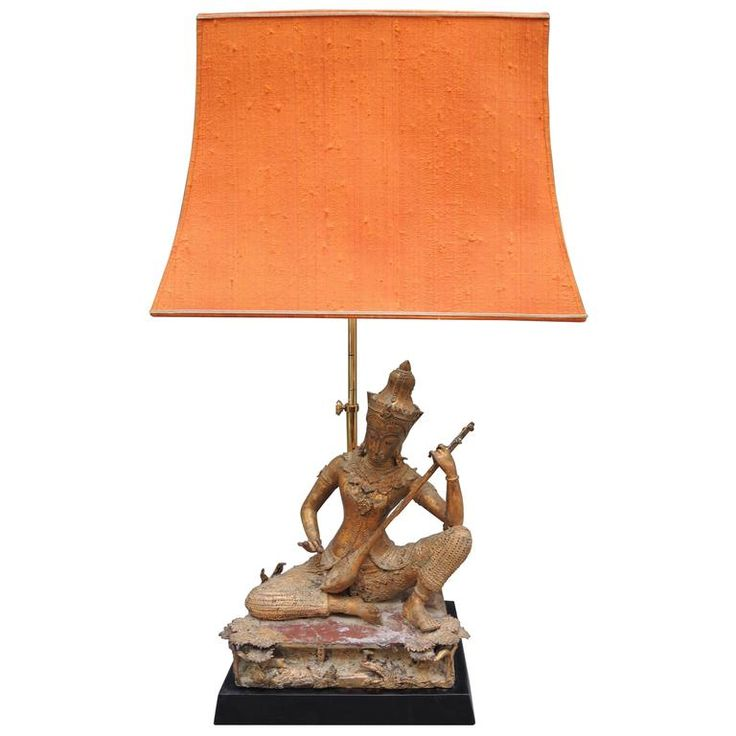 Vintage Thai Gilt Buddha Figure Lamp with the Original Pagoda Silk Shade   From a unique collection of antique and modern table lamps at https://www.1stdibs.com/furniture/lighting/table-lamps/