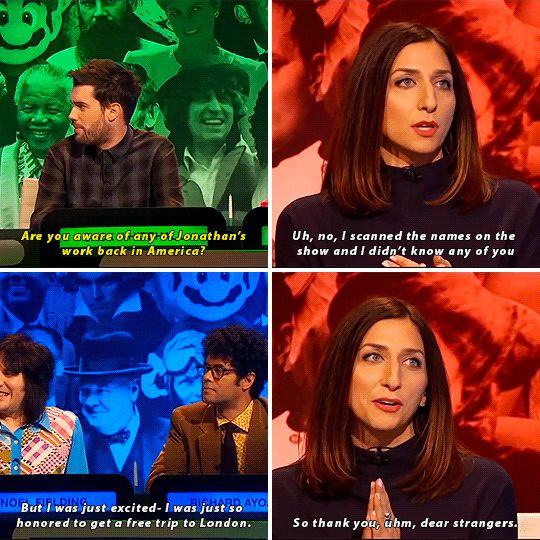 """When Chelsea Peretti had no idea who any of her fellow contestants were. 
