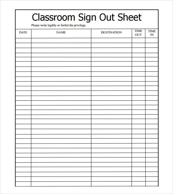 Sample Sign Out Sheet Template   8+ Free Documents Download In PDF, Excel,  Excel Sign In Sheet Template