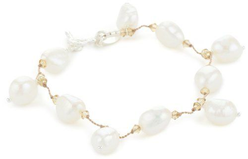 """Margo Morrison New York White Freshwater Pearl Toggle Bracelet, 7"""" Margo Morrison New York. $195.00. Made in the United States. Store in the provided cloth bag to prevent damage and tarnishing. Standard wrist size - one size fits most wrists. Genuine freshwater coin pearls and crystals were used in making this piece"""