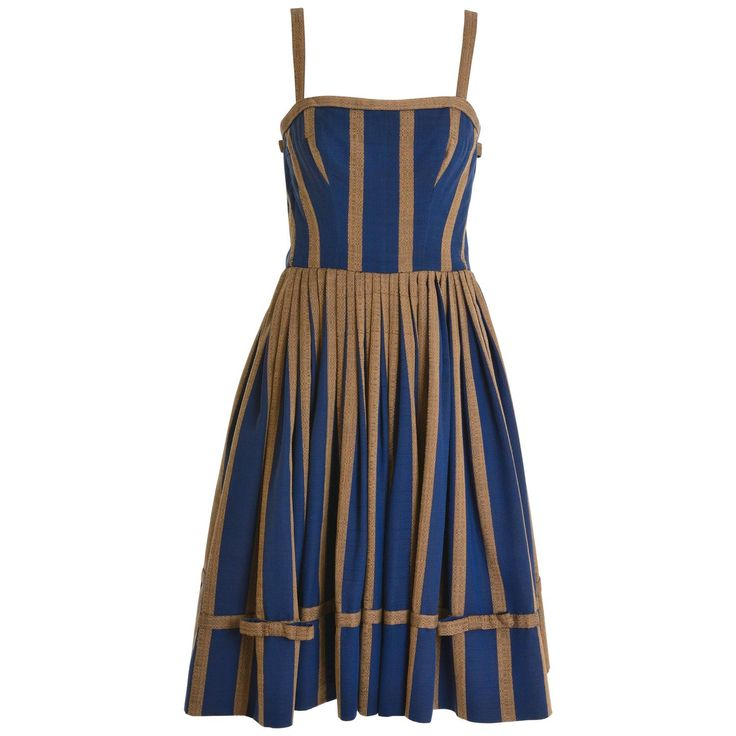 1950s Striped Cotton Spaghetti Strap Circle Skirt Dress | From a collection of rare vintage evening dresses and gowns at https://www.1stdibs.com/fashion/clothing/evening-dresses/