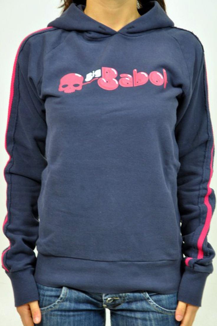 Felpa Hydrogen con cappuccio,  disegno BigBabol frontale e bande rosa sulle maniche