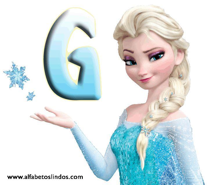 Alfabeto de Frozen con Letras y Copos de Nieve.