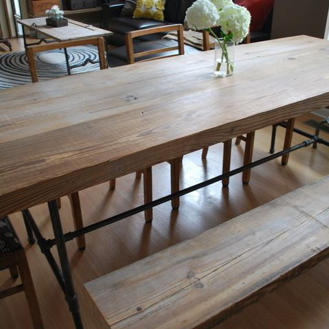 Dining Table Bench Long And Narrow With Benches Pushed