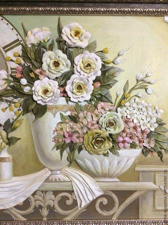 """Купить Картина из кожи """"Время цветов"""" - разноцветный, картина в подарок, картина для интерьера, картина с цветами"""