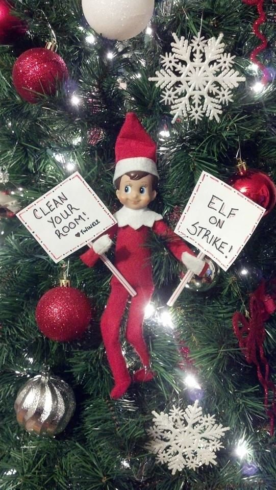 Elf on the Shelf. Clean your desk for the classroom.