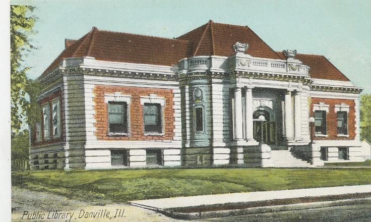 Danville, IL - Danville Public Library - Postcard - 1910.