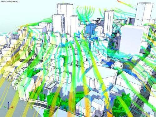 CFDソフト「FlowDesigner」で都市内を流れる風の動きを解析し、見える化した例(以下の資料:日建設計、アドバンスドナレッジ研究所)