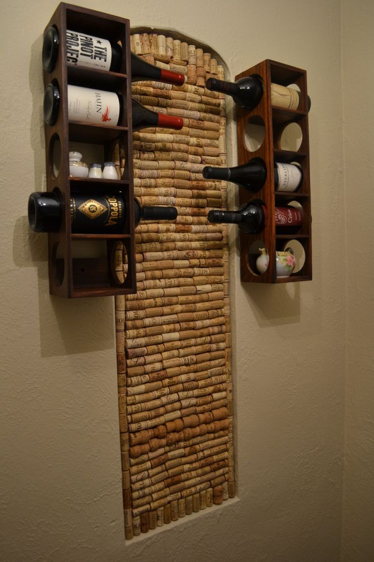 DIY wine cork wall installation