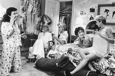 "my favorite part, the girls doing hair and the dryer in the backround :) Stockard Channing, Olivia Newton-John, Dinah Manoff, Didi Conn and Jamie Donnelly from ""Grease"" (1978)"