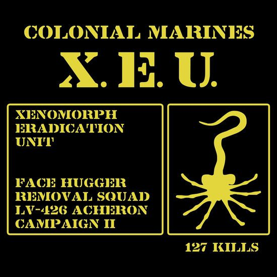 """Colonial Marines Xenomorph Eradication Unit. T-shirt by Samuel Sheats on Redbubble. For all you fans of the """"Alien"""" movie series.  #sciencehumor #scifi #alien"""