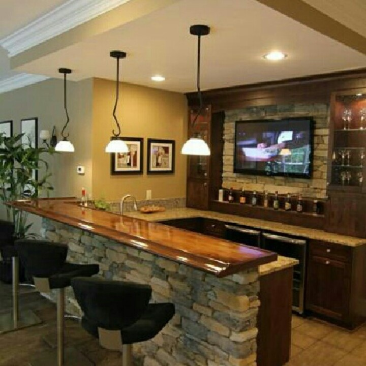 Rustic Industrial Home Bar Designs: Really Love This Basement Bar!