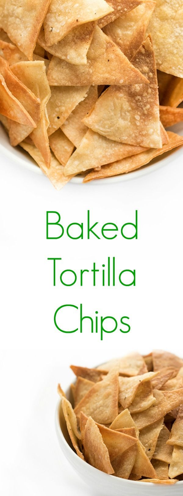 The ultimate healthy snack recipe, these baked corn tortilla chips are crunchy, salty and easy to make at home!