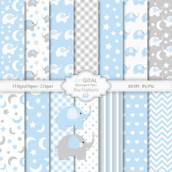 Blue Elephants - Baby Boy Digital Paper Set-Two Clipart included- Blue and gray backgrounds with stars, moon, elephants-Baby Shower-New baby