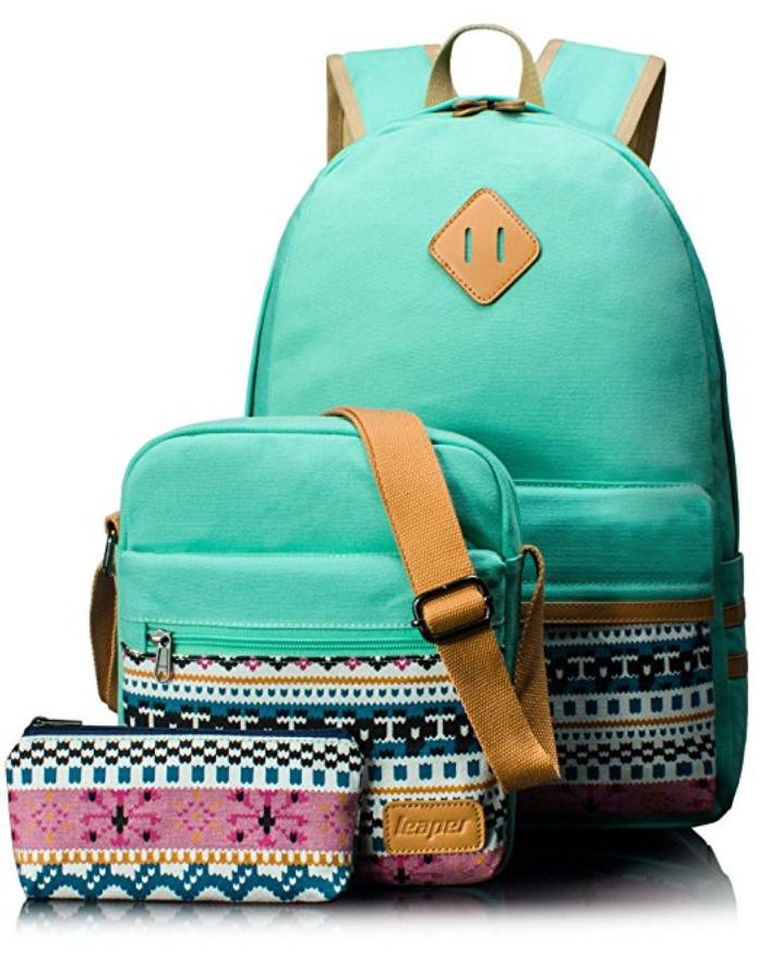 Woman Girl Purses Casual Lightweight Canvas Laptop Shoulder Bags School Backpack #Canvas #Backpack