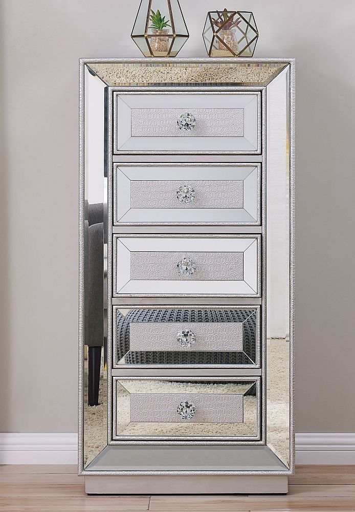 Preston Mirrored 5 Drawer Tall Boy Chest In 2020 Tall Boys