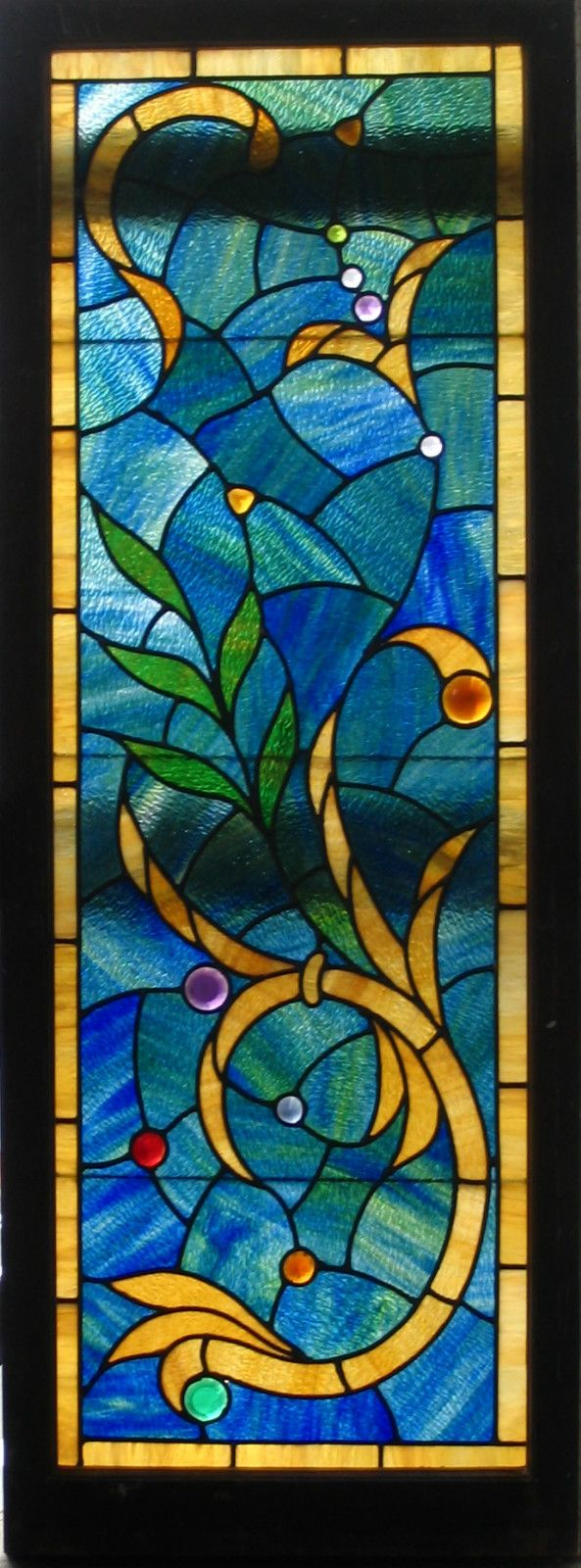 Pair Fantastic Victorian Style Stained Glass Windows Joseph Barberio Antique |