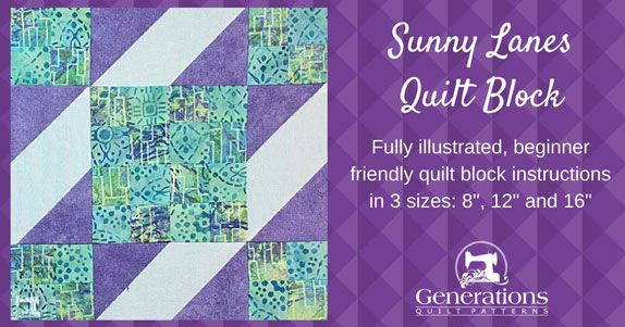 "Sunny Lanes Quilt Block: 8"", 12"" and 16"" finished"