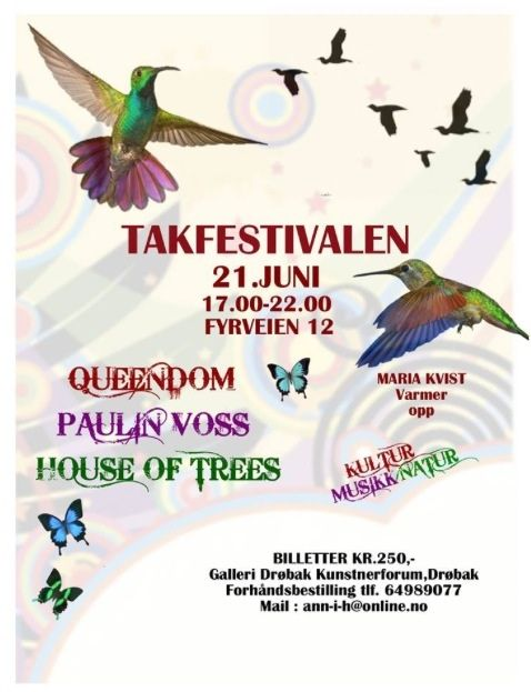 Takfestivalen 2014 in Drøbak, Norway. One of the smallest and most beautiful music festivals in the world. Lineup: Queendom, House Of Trees and Paulin Voss.