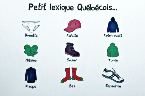 Québécois French names for items of clothing on postcard | OffQc | Quebec French…