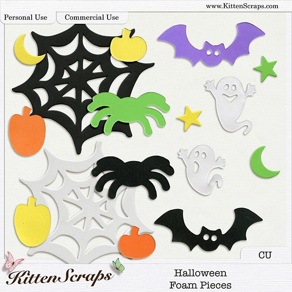 Halloween Foam Pieces {CU} Digital Scrapbooking Product