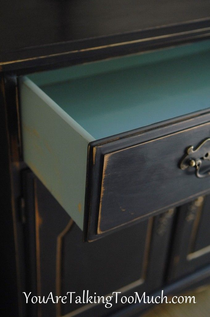 black buffet re-do with sweet aqua drawers