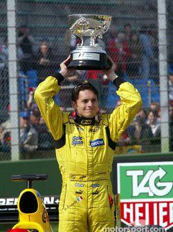Giancarlo Fisichella celebrates Brazilian GP win