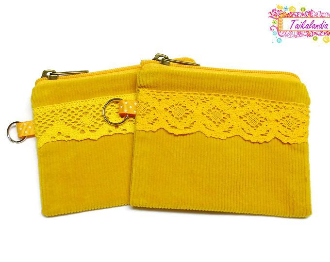 Zip Pouch, Zippered Accessory Pouch, Zippered Boho Pouch, Kids ZIpper Pouch, Cell Phone Bag, Lipstick Case, Change Purse, Coin Pouch, Lace #lace #lacepouch #zipperpouch #yellowpouch #accessorypouch #keyringpouch #giftideas #handdyed