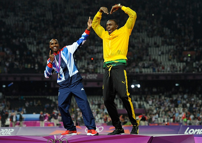 team GB celebrations: Mo Farah does the 'lightning bolt' while Usain Bolt does the 'mobot'