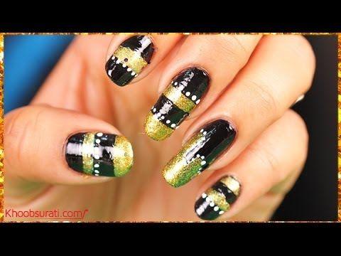 249 best nail art designs watch latest nail art videos diy multi stripes glitter nail art by khoobsurati prinsesfo Choice Image