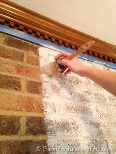 How to Whitewash Brick with chalk type paint - Farm Fresh Vintage Finds