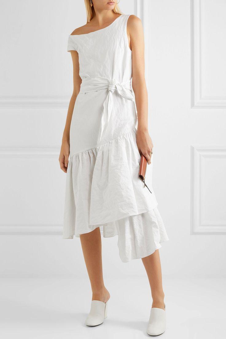 Isa Arfen | One-shoulder asymmetric ruffled cotton-blend dress | NET-A-PORTER.COM