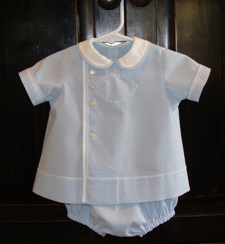 Blue micro gingham baby boy bubble and top. $80.00, via Etsy.