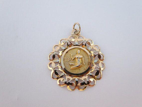 Astrological Sign Zodiac Virgin 10k Gold Pendant Charm Gold Pendant Pendant Vintage Pendants