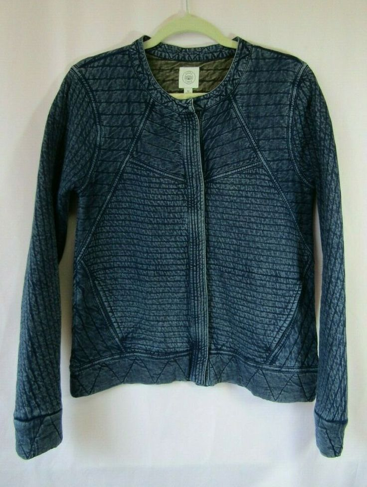 Lucky Lotus M Blue Denim Look Soft Cotton Quilted Moto
