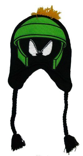 Looney Tunes - Boys - Marvin The Martian Big Face Peruvian Knit Hat Black @ niftywarehouse.com