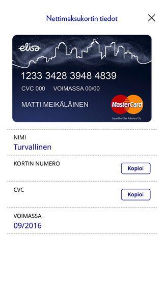 Elisa Wallet - Renewal: Virtual card view (iOS)