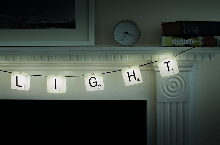 "<a href=""http://amzn.to/1PdDBpX"" target=""_blank"">Customizable banner-style lights for people who love to play Scrabble</a>."
