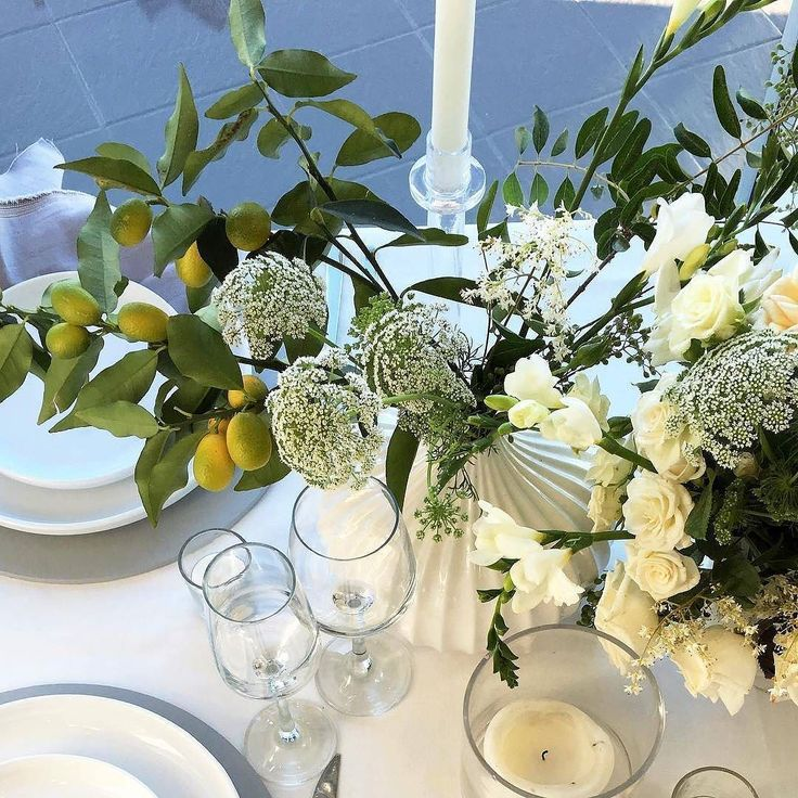 fresh crisp white and green wedding tablescape