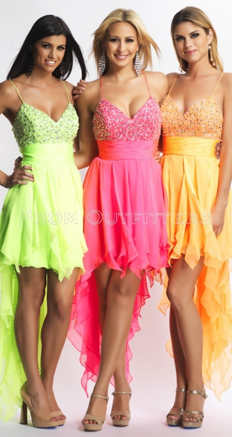 Pleasing and eye-catchy DAVE & JOHNNY 8662 on a neon chiffon high-low with beaded top and shirred waist band on a tie up back accent.