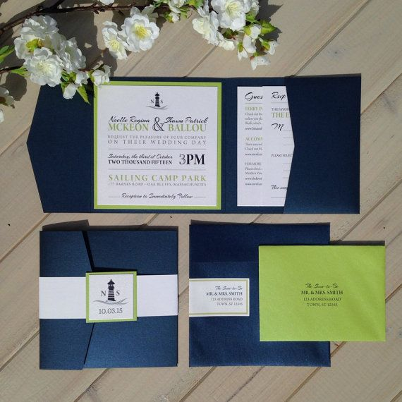 Nautical Wedding Invitations, Navy and Lime Green Wedding Invitations, Beach Wedding Invitations, Blue and Green Wedding Invitations