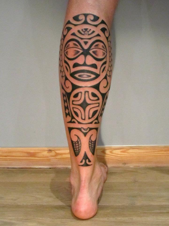 Chris Men's calf tattoo | II ★★★ Tattoos for Calf Maori by Perle Noire by Ponch Studio