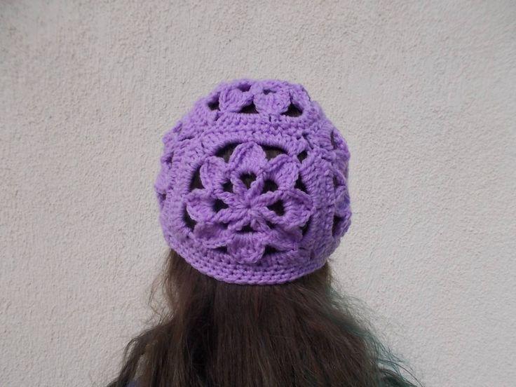 CROCHET PATTERN / Women- Girl Flower granny square hat / beanie / cloche by crochetcoffee on Etsy