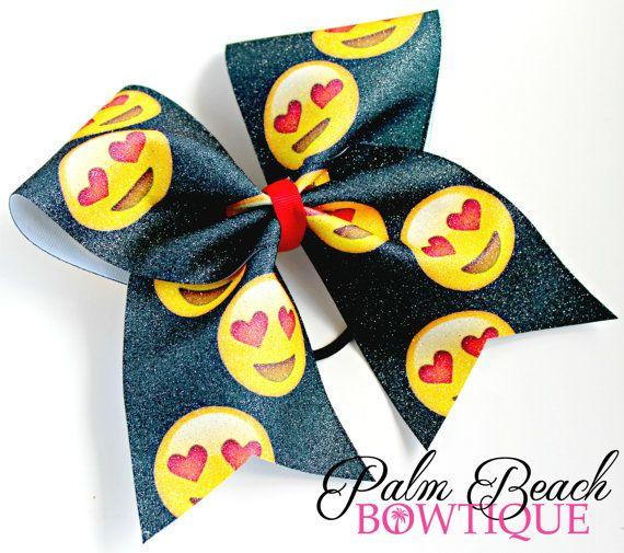 Emoji Love Eyes Cheer Bow Softball Bow Soccer by PalmBeachBowtique