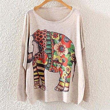 Women's Fashion Round Collar Printing Knit Sweaters – USD $ 19.79