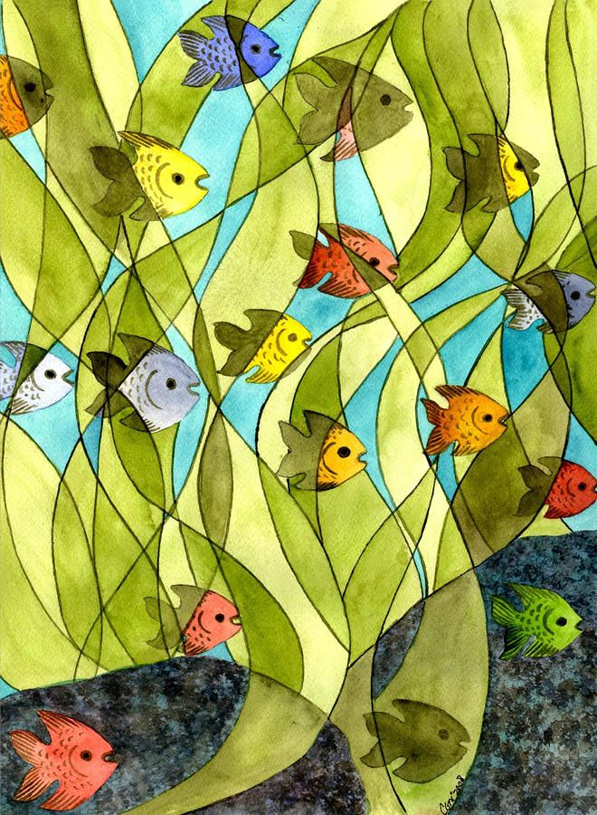 Little Fish Big Pond Painting by Catherine G McElroy - Little Fish Big Pond Fine Art Prints and Posters for Sale